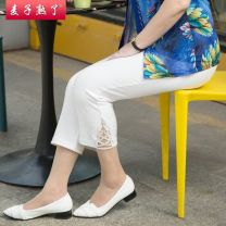 Middle aged and old women's wear Summer 2021 White black Khaki fashion trousers Straight cylinder singleton  Solid color 50-59 years old Socket Crew neck routine routine The wheat is ripe other Other 100% 96% and above 7 / 9 pants