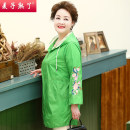 Middle aged and old women's wear Summer of 2019 Green orange yellow L XL 2XL 3XL 4XL fashion Jacket / jacket easy singleton  Solid color 40-49 years old Cardigan moderate Hood Long (length 70-100cm) routine M191-440 The wheat is ripe Embroidery other Other 100% 96% and above zipper
