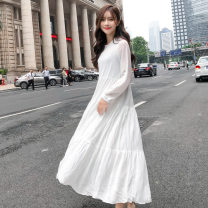 Dress Autumn of 2018 Off white skirt S,M,L Mid length dress singleton  Long sleeves commute Crew neck High waist Solid color Socket A-line skirt shirt sleeve Others 18-24 years old Type A Korean version fold 31% (inclusive) - 50% (inclusive) Chiffon