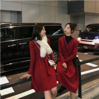 Dress Winter of 2018 Black long, apricot long, gray long, red long, red short, gray short, black short, apricot short L,S,M Mid length dress singleton  Long sleeves commute V-neck High waist Solid color Socket A-line skirt routine 25-29 years old Type X Other / other Button knitting