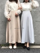 skirt Summer 2020 Average size Blue gray 2262w31, tooth white 2262w31, shallow camel 2262w31, meter 2262w31 Mid length dress Retro High waist Strapless skirt Solid color Bandage