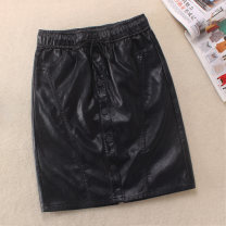 skirt Winter of 2019 S,M,L,XL,2XL black Short skirt Versatile High waist Solid color Type H 25-29 years old Leather pants 1951 51% (inclusive) - 70% (inclusive) Other / other PU