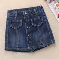 skirt Autumn 2020 S,M,L,XL,2XL navy blue Short skirt Versatile High waist A-line skirt Solid color Type A 30-34 years old 81% (inclusive) - 90% (inclusive) Denim Other / other cotton Make old, button, stitching