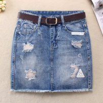 Women's large Summer 2020, spring 2020 blue Big L, big XL, big XXL, big XXXL, s, m, XS skirt singleton  commute easy moderate Solid color Korean version other Denim Hand abrasion 18-24 years old hole 31% (inclusive) - 50% (inclusive) Short skirt other tassels other