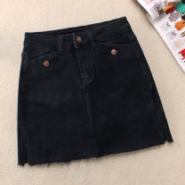 skirt Winter of 2019 S,M,L,XL,2XL black Short skirt commute High waist A-line skirt Solid color Type A 25-29 years old 51% (inclusive) - 70% (inclusive) Denim Other / other cotton Korean version