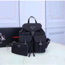 Backpack Nylon  Other / other black brand new in Drawstring buckle leisure time Double root Japan and South Korea youth yes Soft handle Solid color female Water splashing prevention Color contrast no Bag with cover