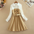 Dress Autumn of 2019 Apricot S,M,L,XL Mid length dress Fake two pieces Long sleeves Sweet Polo collar middle-waisted other Single breasted Big swing shirt sleeve Others 18-24 years old Type A Other / other Pocket, stitching, three-dimensional decoration fashion dress  other cotton princess