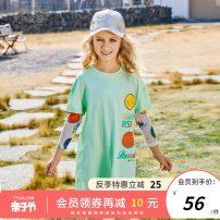 Dress Yellow green female Future star 120cm 130cm 140cm 150cm 160cm Cotton 95% polyurethane elastic fiber (spandex) 5% summer leisure time Long sleeves cotton A-line skirt WLL2021013 Summer 2021 Five, six, seven, eight, nine, ten Chinese Mainland Jiangsu Province Wuxi City