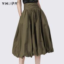 skirt Summer 2020 S M L XL XXL XXXL XXXXL Khaki army green Mid length dress Versatile High waist Flower bud skirt Solid color 35-39 years old BD11239 More than 95% Yihui cotton fold Cotton 100%