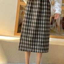skirt Autumn of 2019 Average size Black, milk tea Mid length dress commute High waist A-line skirt lattice Type A 18-24 years old A35S4WeG7o 91% (inclusive) - 95% (inclusive) Other / other printing Korean version