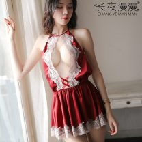 Nightdress livelong night Red, white, black Average size sexy Sleeveless Short skirt youth V-neck