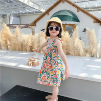 Dress Broken flowers female Other / other 80cm,90cm,100cm,110cm,120cm,130cm Cotton 80% polyester 20% summer Korean version Strapless skirt Broken flowers Cotton blended fabric A-line skirt Class B Two, six