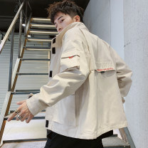 Jacket Junefe / Junfu Youth fashion Jswz 9062 Khaki jswz 9062 black M L XL 2XL 3XL routine easy Other leisure autumn JSWZ9062 Cotton 100% Long sleeves Wear out stand collar tide youth routine Zipper placket Cloth hem washing Closing sleeve Solid color Denim Autumn of 2019 Decorative loop cotton