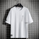 T-shirt Youth fashion Slw-tx225 white slw-tx225 black routine M L XL 2XL 3XL 4XL 5XL 6XL 7XL 8XL Junefe / Junfu elbow sleeve Crew neck easy daily summer SLW-TX225 Cotton 95% polyurethane elastic fiber (spandex) 5% Large size routine tide Cotton wool Summer 2021 Geometric pattern Embroidered logo