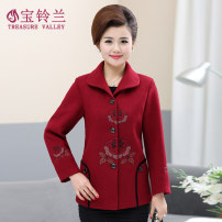 Middle aged and old women's wear Spring 2020 gules XL (recommended weight 90-105 kg) XXL (recommended weight 105-120 kg) XXXL (recommended weight 120-132 kg) 4XL (recommended weight 132-145 kg) 5XL (recommended weight 145-158 kg) leisure time woolen coat Straight cylinder singleton  Big flower A003