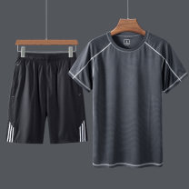 T-shirt other thin M L XL 2XL 3XL 4XL 5XL Lieyan Short sleeve Crew neck standard motion summer DC601! Polyester 100% middle age routine Basic public Summer 2020 Solid color Inlay / stick Brand logo No iron treatment Domestic non famous brands Same model in shopping mall (sold online and offline)