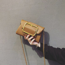 Bag Inclined shoulder bag PU Small square bag Other / other Brown White Black brand new Retro Small leisure time soft Magnetic buckle no Solid color Single root Straddle shoulder Yes youth chain Chain handle polyester fiber Zipper hidden bag sandwich zipper bag 0512 soft surface Bag with cover