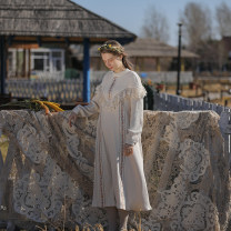 Dress Winter 2020 Off white S code spot, M code spot, l code spot longuette singleton  Long sleeves Sweet Crew neck Loose waist Single breasted Princess Dress routine Type X Face Art Hollowed out, embroidered, stitched, lace Cc24940 Victoria dress cotton Mori