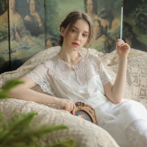Dress Summer 2020 White milk S code spot, M code spot, l code spot longuette singleton  Short sleeve Sweet V-neck middle-waisted zipper Princess Dress Flying sleeve Type X Face Art Tassel, hollow out, embroidery, lace, lace Cc24159 + dress Mori