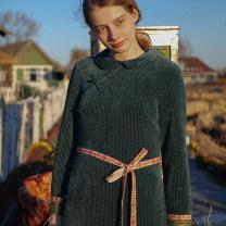 Dress Winter 2020 Retro Green longuette singleton  Long sleeves Sweet Crew neck middle-waisted zipper Princess sleeve Type H Face Art Button, button Mori