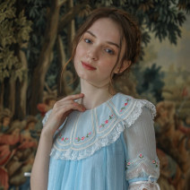 Dress Summer 2020 sky blue longuette singleton  Short sleeve Sweet Lotus leaf collar Loose waist Single row two buttons A-line skirt routine Type A Face Art Mori