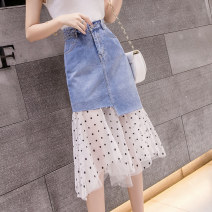 skirt Spring 2021 S M L XL 2XL blue Mid length dress commute High waist A-line skirt Solid color Type A 18-24 years old TYL4168094 More than 95% Denim Tui love other Pocket asymmetric button mesh zipper stitching Korean version Other 100% Pure e-commerce (online only)
