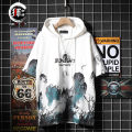 T-shirt Youth fashion Black and white routine M L XL 2XL 3XL Shikendun elbow sleeve Hood easy daily summer Cotton 71.2% polyester 23.3% polyurethane elastic fiber (spandex) 5.5% teenagers Off shoulder sleeve Hip hop Knitted fabric Spring 2021 Landscape painting printing No iron treatment