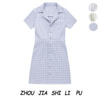 Dress Summer 2020 Green line on white, gentle blue, blue line on white S,M,L singleton  Short sleeve tailored collar Socket 31% (inclusive) - 50% (inclusive)