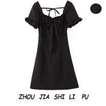 Dress Spring 2020 black S,M,L Short skirt singleton  Short sleeve square neck Socket 31% (inclusive) - 50% (inclusive)