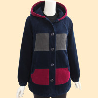 Middle aged and old women's wear Winter 2020, autumn 2020 leisure time Jacket / jacket easy singleton  other Over 60 years old Cardigan thick Hood Medium length (length 50-70cm) routine pocket 96% and above Single breasted