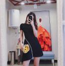 Dress Summer 2021 White, black S, M Short skirt Short sleeve commute Crew neck Solid color Type A 31% (inclusive) - 50% (inclusive) cotton