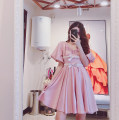 Dress Summer 2021 Pink, blue S, M Middle-skirt singleton  Short sleeve commute V-neck High waist Solid color Socket Princess Dress Princess sleeve Others Type A lady 31% (inclusive) - 50% (inclusive) Silk and satin cotton