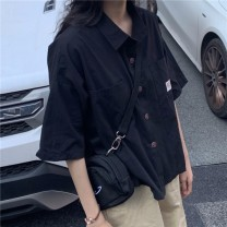 shirt Black green purple white Average size Summer 2020 other 96% and above Short sleeve commute Regular square neck Single row multi button routine Solid color 18-24 years old Straight cylinder Sakami Korean version DXH-618B-6876-3.31 Pocket button Other 100%