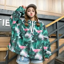 short coat Spring 2018 Average code Picture color black Long sleeve conventional Thin section Single Loose conventional Commuting Hooded zipper Abstract pattern Camy 18-24 years old JDHDNB565 zipper Polyester Polyester 100%