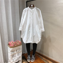 shirt white Average size Spring of 2019 cotton 96% and above Long sleeves Sweet Medium length stand collar Single row multi button raglan sleeve Solid color 25-29 years old Straight cylinder Button solar system