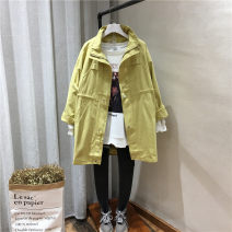 Windbreaker Spring 2021 Average size Black, khaki, blue, yellow Long sleeves routine Medium length commute zipper stand collar raglan sleeve Solid color Straight cylinder Korean version 25-29 years old pocket 96% and above cotton cotton cotton