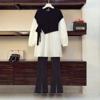 Women's large Spring 2021 Large XL, large XXL, large XXL, large XXXXL, large L Two piece set commute easy Socket Korean version Crew neck Medium length routine trousers
