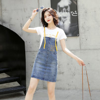Dress Summer of 2019 Yellow blue S M L XL Mid length dress Two piece set Short sleeve commute Crew neck middle-waisted letter Socket A-line skirt routine straps 18-24 years old Type H Memory of the ear Korean version Sticking cloth More than 95% Denim other Other 100% Pure e-commerce (online only)
