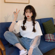 T-shirt White purple yellow L XL 2XL 3XL 4XL Summer 2021 Long sleeves Crew neck Fake two pieces Regular bishop sleeve commute polyester fiber 51% (inclusive) - 70% (inclusive) 18-24 years old Korean version originality Wave point splicing Oulaixiang (clothing) 5064# Polyester 70% Cotton 30%