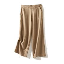 Casual pants Black, jujube, khaki S,M,L,XL Summer of 2019 Wide leg pants Natural waist Thin money