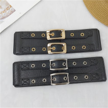 Belt / belt / chain Pu (artificial leather) Black, black gold, black silver female Waistband Simplicity Single loop Youth, youth, middle age Pin buckle other Glossy surface 6cm alloy Tightness Dingzhen Y225