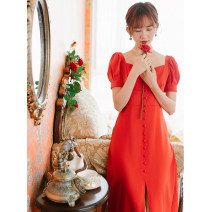 Dress Summer 2021 gules Mid length dress singleton  Short sleeve commute square neck middle-waisted Solid color A-line skirt puff sleeve Type A Please, Mr. Lu Simplicity Lace up, stitching, button, zipper 91% (inclusive) - 95% (inclusive) other polyester fiber