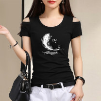T-shirt Black White Red Ginger S M L XL XXL Autumn 2020 Short sleeve Crew neck Self cultivation Regular routine commute cotton 86% (inclusive) -95% (inclusive) 25-29 years old Korean version originality Letters for plants and flowers Under the cotton tree D008-021 printing