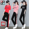 Women's large Summer of 2019 Other oversize styles Two piece set easy moderate Socket Short sleeve letter Crew neck routine Polyester cotton printing and dyeing routine Cotton 95% polyester 5% Pure e-commerce (online only) Ninth pants