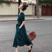 Dress Silijiao blackish green S M L XL XXL XXXL Korean version elbow sleeve Medium length summer square neck Dot 3-9X2103-B