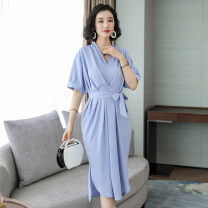 Dress Summer of 2019 Blue Khaki Average size Mid length dress singleton  elbow sleeve commute V-neck High waist Solid color Socket A-line skirt routine Others 35-39 years old Type A Lan Yu's love Korean version Frenulum More than 95% Chiffon polyester fiber Other polyester 95% 5%