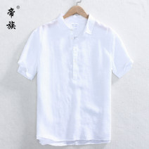 shirt Fashion City S M L XL 2XL 3XL 4XL Thin money square neck Short sleeve standard daily summer youth Flax 100% Chinese style 2019 Solid color Linen Summer of 2019 washing hemp Pure e-commerce (online only) More than 95%