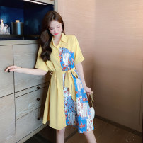 Dress Summer 2020 Yellow apricot S M L Mid length dress singleton  Short sleeve commute Polo collar Loose waist Decor Single breasted A-line skirt routine Others 18-24 years old Type A Heresy Korean version Splicing 71% (inclusive) - 80% (inclusive) other other Pure e-commerce (online only)