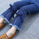 trousers Other / other female Bow flared pants spring and autumn Ninth pants Jeans cotton Type * undetermined 2, 3, 4, 5, 6, 7, 8, 9, 10 years old
