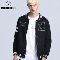 Jacket Miracle kill Youth fashion Gray, black S,M,L,XL,2XL routine Self cultivation motion autumn Cotton 50% polyester 50% Long sleeves Wear out tide teenagers 2018 cotton